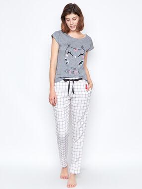Camiseta manga corta estampado búho c.gris.