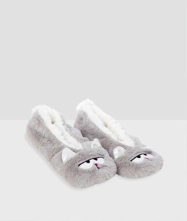 Zapatillas forradas gato c.gris.