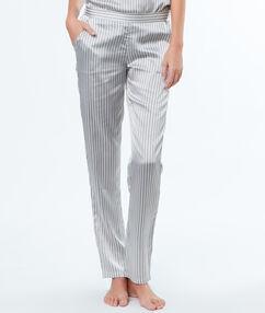 Pantalón largo estampado rayas satén c.gris.