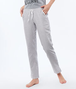 Pantalón estampado de rayas crudo.