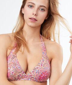 Sujetador bikini sin relleno estampado. copa d-e multicolor.