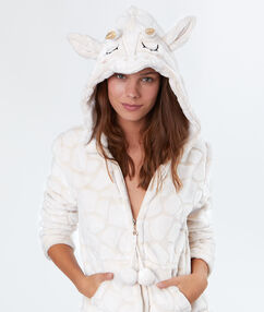 Chaqueta tejido peluche jirafa crudo.