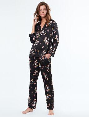 Camisa pijama estilo masculino negro.