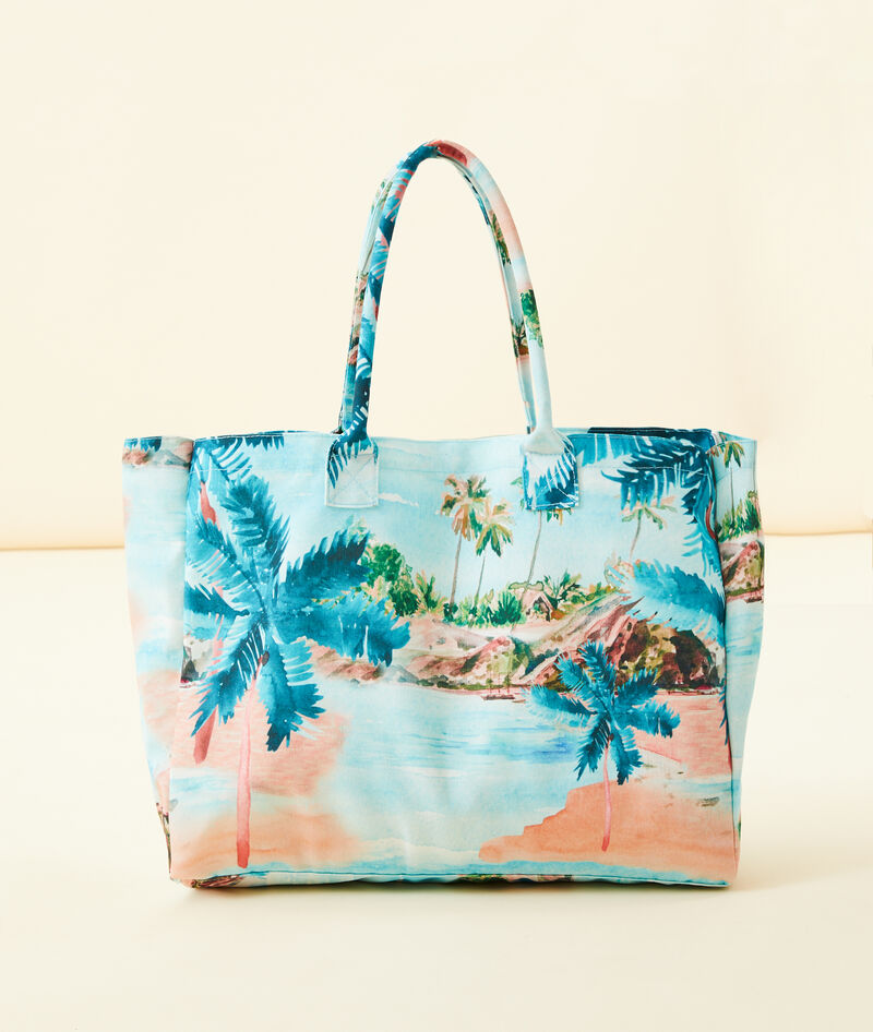BOLSO PLAYERO ESTAMPADO TROPICAL
