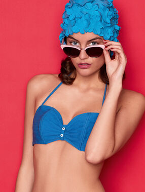 Sujetador bikini tirantes extraíbles retro azul.