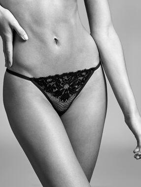 Tanga encaje floral y tejido rejilla negro.