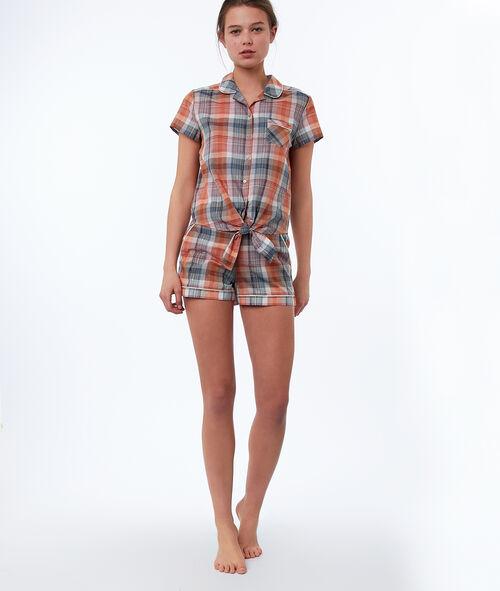 Camisa pijama estampado de cuadros
