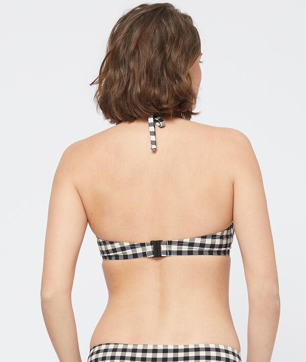 Sujetador bikini con foam cuadros vichy. Copa C-D