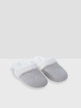 Zapatillas destalonadas fibras metalizadas c.gris.