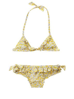 Conjunto bikini para niña amarillo.