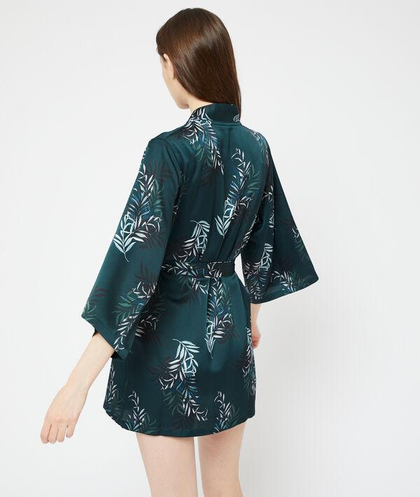 Bata tipo kimono estampado hojas;${refinementColor}