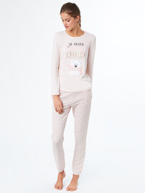 Pantalón pijama estampado rosa.