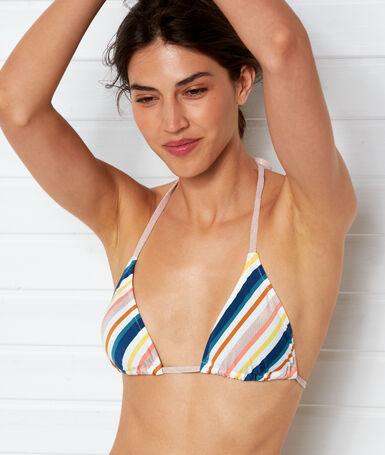 Sujetador bikini triangular estampado imp crudo.