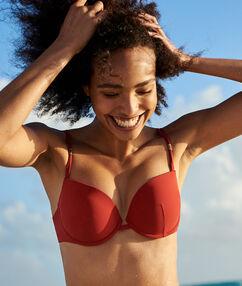 Sujetador bikini push up adornos metálicos. copa b-c crudo.