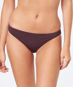 Braguita bikini fibras metalizadas lila oscuro.