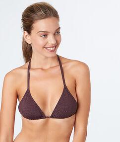 Sujetador bikini triangular lila oscuro.