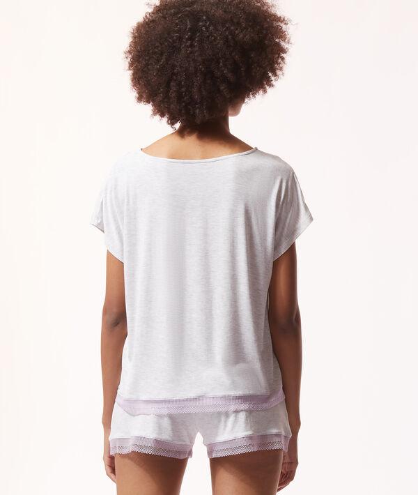 Camiseta lisa con motivos de encaje;${refinementColor}