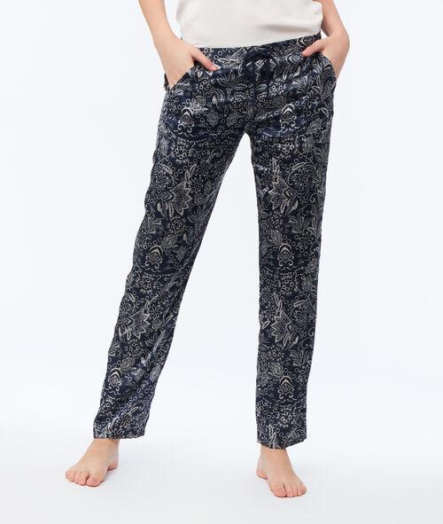 Pantalón largo satén estampado floral