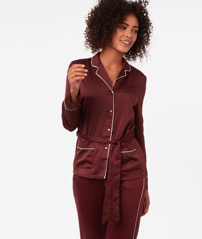 Camisa pijama franja contrastada burdeos.