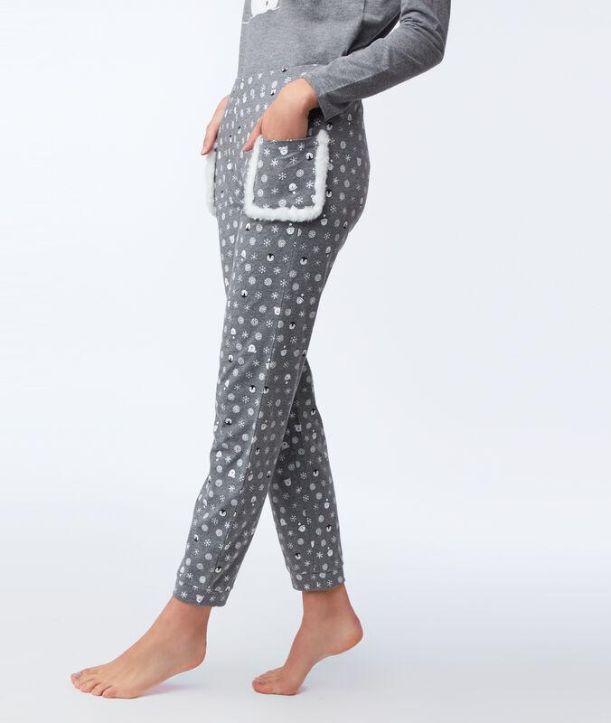 Pantalón estampado bolsillos tejido borreguito antracita.