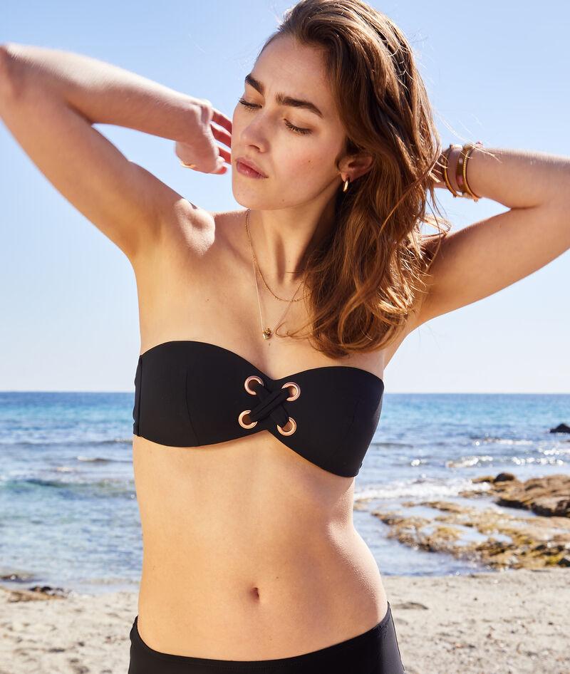 Sujetador bikini bandeau, copa fina