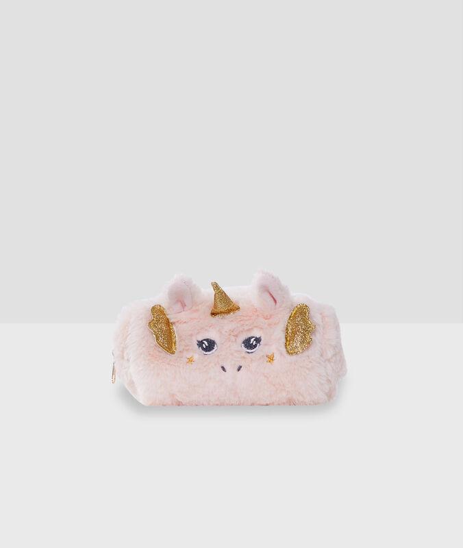 Neceser unicornio tejido peluche rosa.