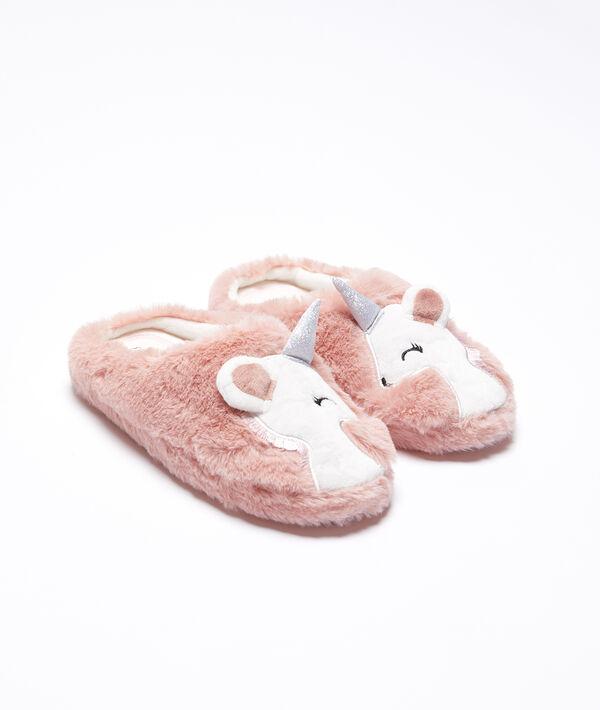 Zapatillas peludas de unicornio
