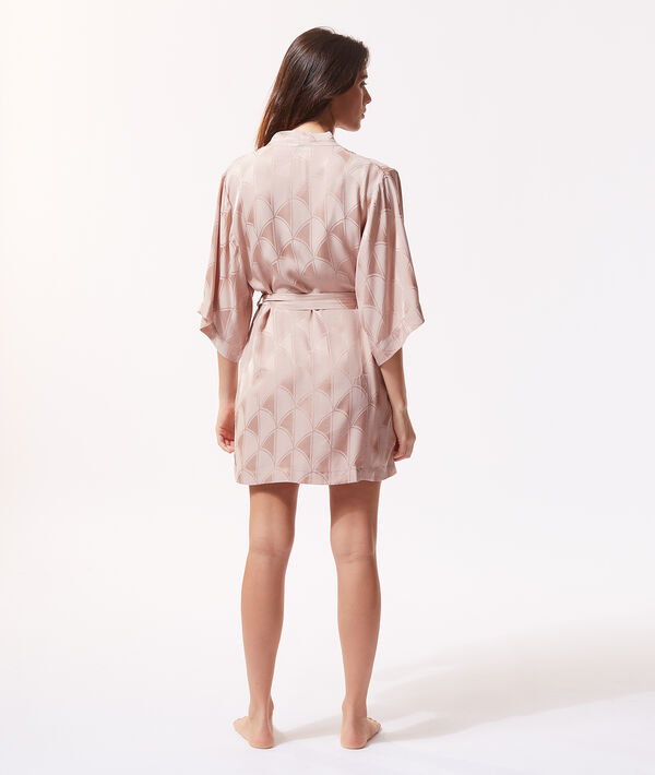 Bata tipo kimono de satén, estampado;${refinementColor}
