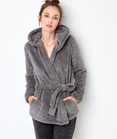 Chaqueta tejido peluche c. gris.