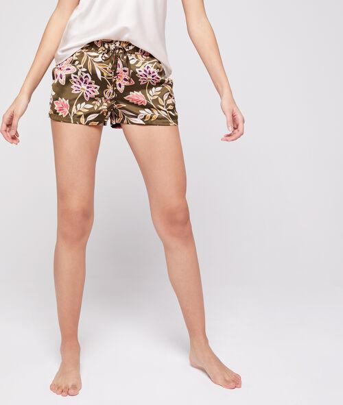 Pantalón corto de satén estampado floral