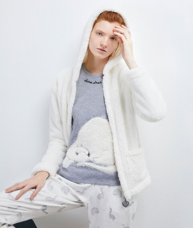 Pijama 3 prendas estampado dinosaurio white.