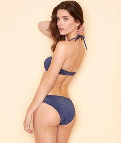 Braguita bikini fibras metalizadas azul marino.