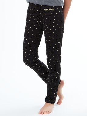 Pantalón largo estampado estrellas negro.