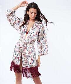 Bata tipo kimono con flecos crudo.