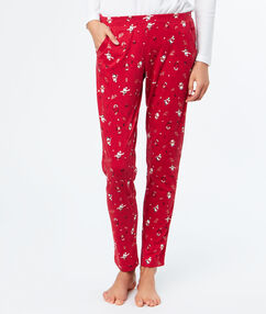 Pantalón estampado navideño rojo.