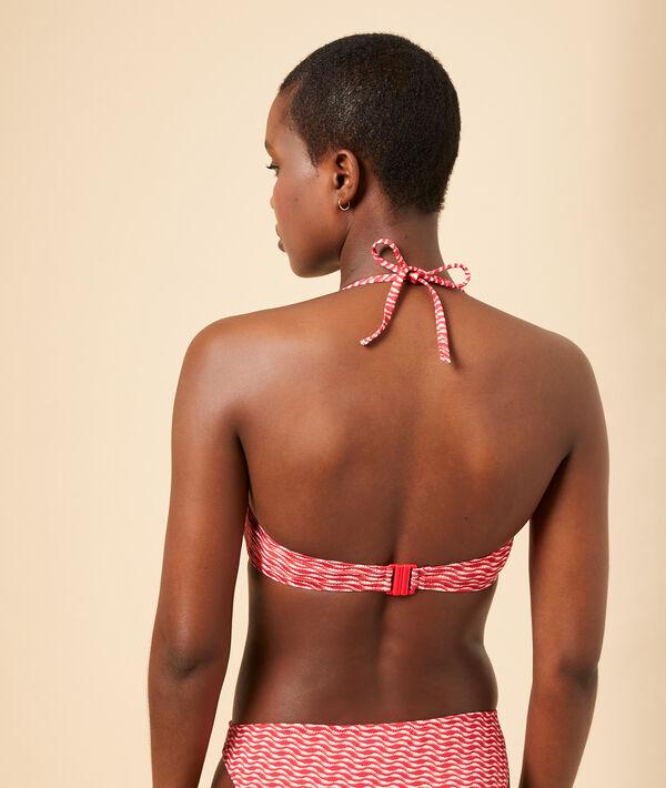 Sujetador bikini bandeau estampado, copas extraíbles;${refinementColor}
