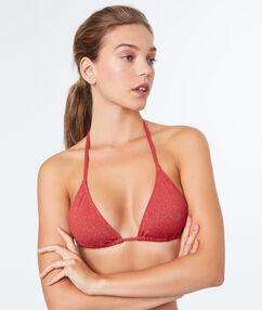 Sujetador bikini triangular rojo teja.