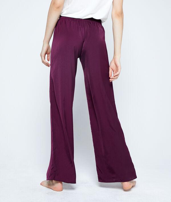 Pantalón recto de satén, cintura elástica