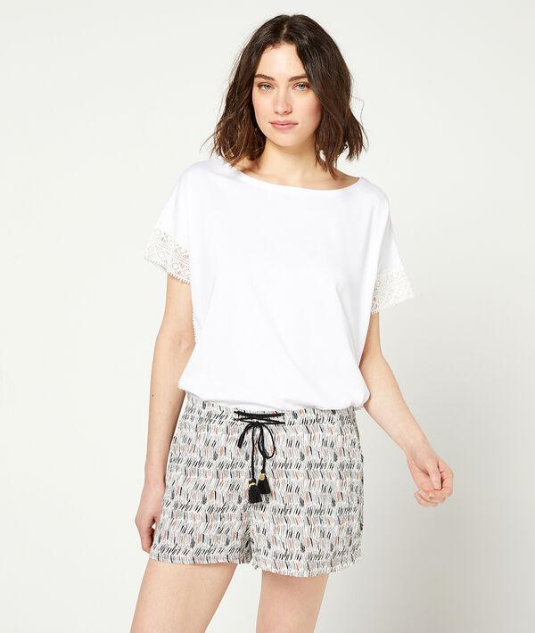 Pantalón corto estampado ceñido cintura;${refinementColor}