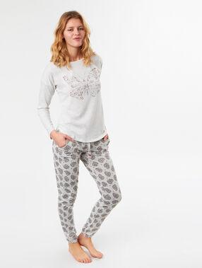 Pantalón estampado motivos étnicos c.gris.