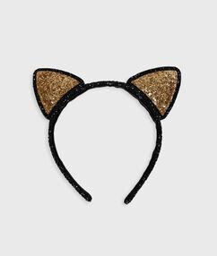Diadema orejitas de gato doradas negro.