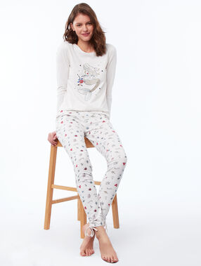Pantalón estampado motivos marinos blanco.