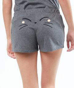Pantalón corto dibujo gato c.gris.