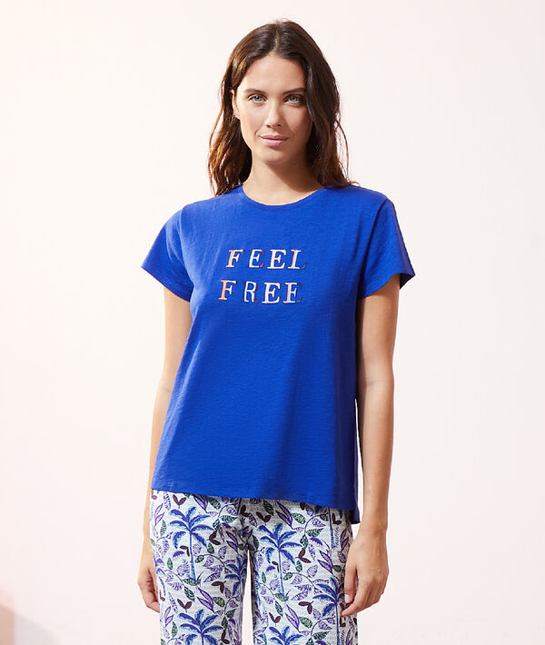 """Top manches courtes """"Feel free"""";${refinementColor}"""