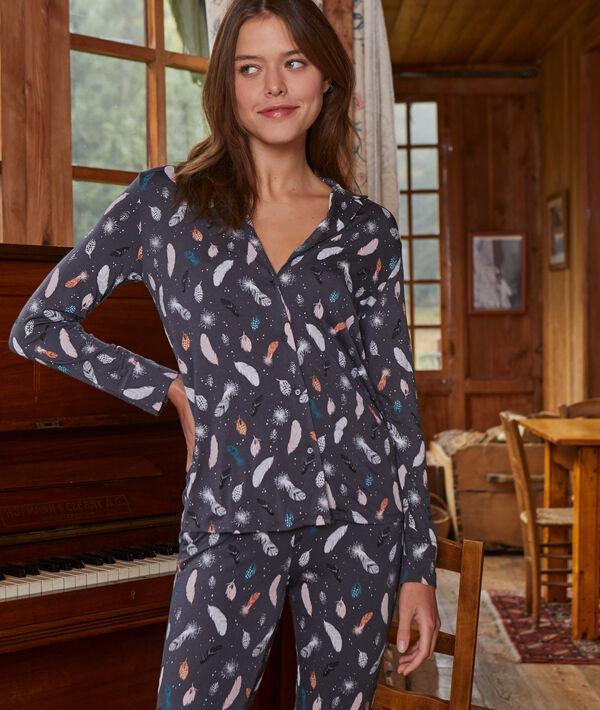 Camisa pijama estampado plumas