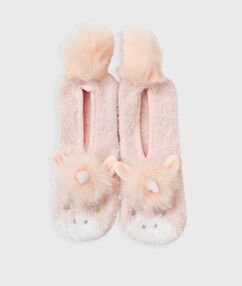 Chaussons souples licorne rose.