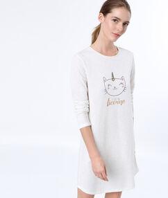 Camisón estampado gato blanco.