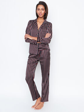 Camisa pijama estilo masculino a rayas negro.