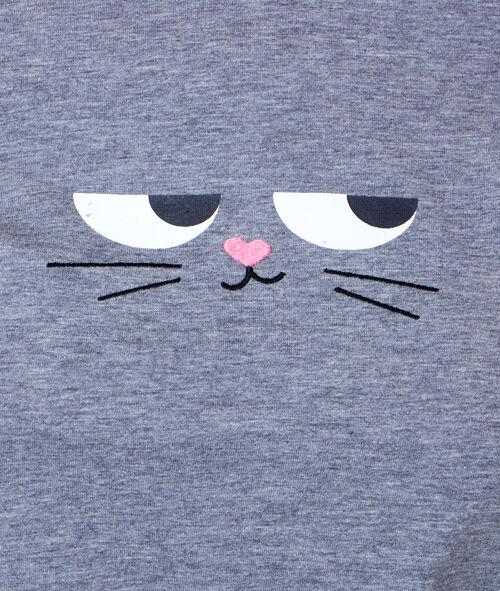 Camiseta estampada de gato con orejas 3D