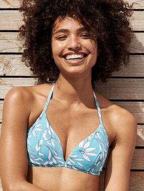 Sujetador bikini triangular estampado floral. copa b-e azul/blanco.
